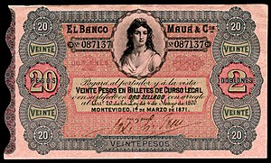 20 peso Uruguay banknote from 1871