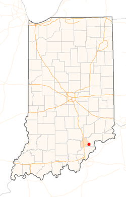 Location of Lexington in the state of Indiana