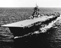 USS Bunker Hill (CV-17) at sea in 1945 (NH 42373).jpg