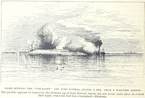 USS Chickasaw (1864) - Chickasaw fights Fort Powell