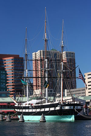 African Slave Trade Patrol - USS Constellation docked in Baltimore Harbor. Constellation captured three slave ships during her operations in Africa.