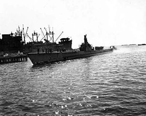 Devilfish (SS-292), coming into port, c. 1945.