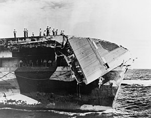 USS Hornet (CV-12) - Damaged by typhoon.