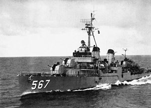 USS Watts (DD-567) underway, 1955–56