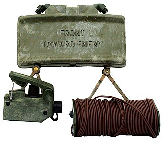 M18 Claymore mine - The M18A1 Claymore mine with the M57 firing device and M4 electric blasting cap assembly.