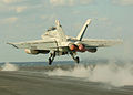 US Navy 051109-N-3488C-084 An F-A-18F Super Hornet, assigned to the Diamondbacks of Strike Fighter Squadron One Zero Two (VFA-102), launches off flight deck of the conventionally powered aircraft carrier USS Kitty Hawk (CV 63).jpg