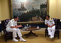 US Navy 060616-N-2383B-123 Chief of Naval Operations (CNO) Adm. Mike Mullen and Chief of Navy Staff, Indonesian Navy Adm. Slamet Soebijanto conducts a meeting in the CNO's office.jpg
