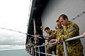 US Navy 070624-N-7312S-111 Embarked Australians and Sailors aboard USS Blue Ridge take a break from exercise Talisman Saber 2007 (TS07) and participate in a fish call.jpg