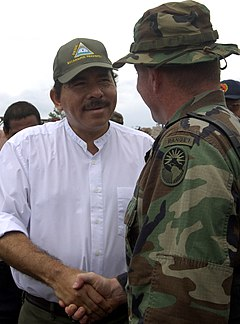 US Navy 070907-N-1810F-237 Lt. Col. Robert Gaddis meets with Daniel Ortega, president of Nicaraguan to discuss a humanitarian relief operation in Puerto Cabezas, Nicaragua