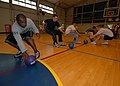 US Navy 071026-N-4399G-035 Sailors stationed aboard amphibious command ship USS Blue Ridge (LCC 19) run to the starting line at the start of a friendly game of dodge ball.jpg