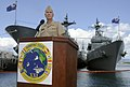US Navy 080703-N-1722M-116 Vice Adm. Samuel J. Locklear, commander of the U.S. 3rd Fleet and Combined Task Force Commander for exercise Rim of the Pacific (RIMPAC) 2008 conducts a press conference.jpg