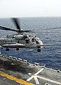 US Navy 090701-N-3165S-052 An MH-53 Sea Stallion, from Marine Medium Tilt-rotor Squadron 263 (Reinforced), takes off from the amphibious assault ship USS Bataan (LHD 5).jpg