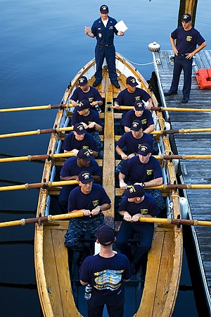 Ship's boat - Modern USN sailors man USS Constitution's port whaleboat in 2009