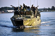 US Navy 110712-N-CD297-143 Sailors assigned to Riverine Squadron (RIVRON) 2 participate in pre-deployment exercises in a riverine command boat.jpg