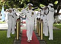 US Navy 110729-N-UK333-127 Cmdr. Robert Gaucher is piped ashore during a change of command ceremony for the Los Angeles-class fast attack submarine.jpg