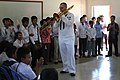 US Navy 111021-N-VC635-870 Musician 2nd Class James Brownell, assigned to the U.S. 7th Fleet Band, Orient Express, plays for students at the Second.jpg