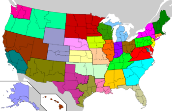 United States map showing each of the 32 Latin Church provinces