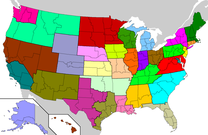 Provinces and dioceses of the Roman Catholic Church in the United States. Each color represents one of the 32 Latin-rite provinces. Not depicted are the U.S. Virgin Islands, which constitute the Diocese of St. Thomas, the sole suffragan diocese in the Province of Washington, D.C. US Roman Catholic dioceses map.png