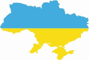 Map of Ukraine with flag overlay.