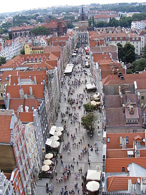 Long Lane, Gdańsk - View from Town Hall to Golden Gate