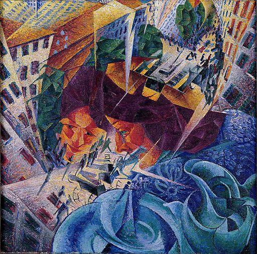 Umberto Boccioni, Visioni simultanee (Simultanvisionen), oil on canvas, 60.5 × 60.5 cm, Von der Heydt Museum