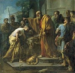 Unción de David por Samuel, de Antonio González Velázquez (Real Academia de Bellas Artes de San Fernando).JPG