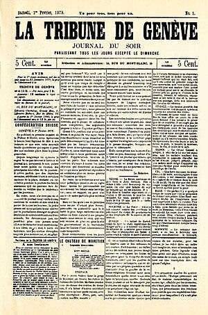 Tribune de Genève - Image: Une tg 1879