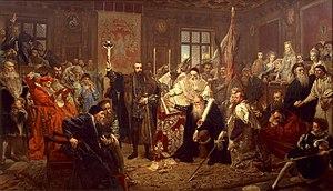 """""""Union of Lublin"""" (1569). Painting by Jan Matejko, 1869, Castle Museum, Lublin."""