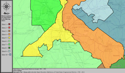 United States Congressional Districts in Georgia (metro highlight), 1983 – 1992.tif