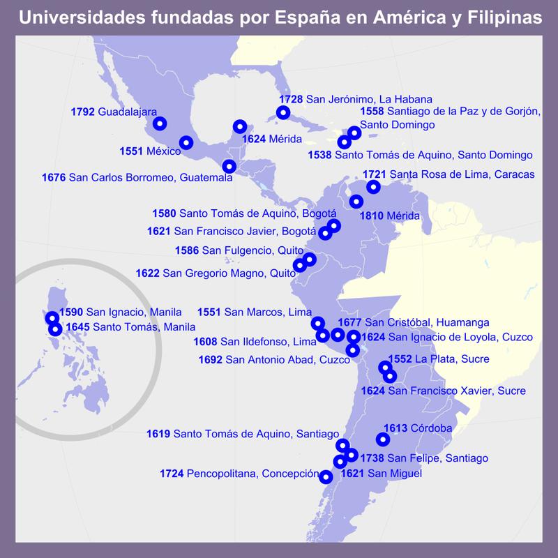 12 Octubre- día de la invasión y saqueo de América. - Página 2 800px-Universidades_fundadas_por_Espa%C3%B1a_en_Am%C3%A9rica_y_Filipinas
