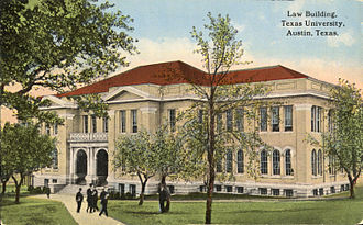 University of Texas School of Law - Illustration of the Law Building on a postcard (1908–1924).