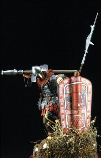 Gun laws in the Czech Republic - A model of a Hussite warrior behind a Pavise shield, carrying a píšťala on his arm