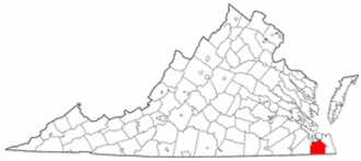 National Register of Historic Places listings in Chesapeake, Virginia - Location of Chesapeake in Virginia