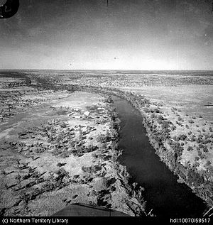 Victoria River Downs Station - Aerial view of Victoria River Downs station, airfield and Wickham River 1938