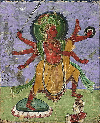 Balipratipada - Vamana as Tri-vikrama (victor of the three worlds) triumphing over Bali