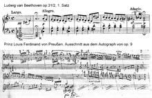 Vergleich vonL. v. Beethoven, op.31/2 undLouis Ferdinand, op.9 (Autograph) (Quelle: Wikimedia)