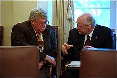 Vice President Cheney speaks with Speaker of the House Dennis Hastert.jpg