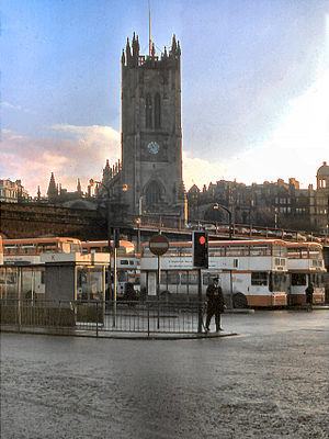Bus deregulation in Great Britain - Greater Manchester Transport buses at Victoria Bus Station, Manchester in December 1978