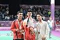 Victory Ceremony Boys Singles Badminton 2018 YOG 28.jpg