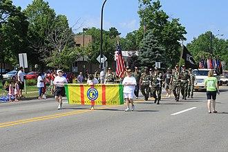 Vietnam Veterans of America - VVA members marching in an Independence Day Parade, Ypsilanti, Michigan