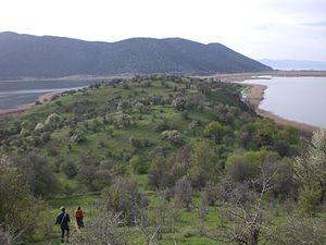 Small Prespa Lake - Image: View from Summit of Agios Axillios