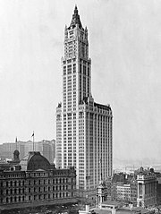 Photograph of the Woolworth Building and those surrounding it