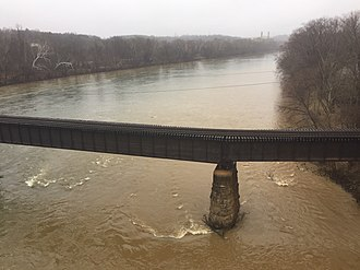Buckingham Branch Railroad - Image: View of a BB Railroad Bridge from route 15 crossing the James River on the East Side