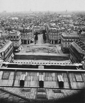 Avenue de l'Opéra - Image: View of the Place de l'Opéra from the top of the Opéra c 1870 Leniaud 2003 p 48