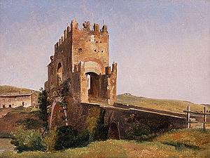 Ponte Nomentano - Image: View of the Ponte Nomentano 1837 Pierre Nicolas Brisset