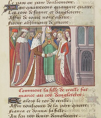 Margaret of Anjou - The marriage of Henry VI and Margaret of Anjou is depicted in this miniature from an illustrated manuscript of Vigilles de Charles VII by Martial d'Auvergne