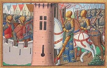 The capture of Paris by the Bourguignons, depiction in the manuscrit de Martial d'Auvergne, verse 1484, BnF, Manuscrit Français 5054, enluminure du folio 15 verso, around 1484
