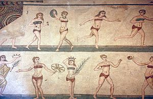 a5407b74e2 Roman women wearing breast bands during sport. The Coronation of the Winner  mosaic (a.k.a. the 'Bikini mosaic'), Villa Romana del Casale, Piazza  Armerina, ...