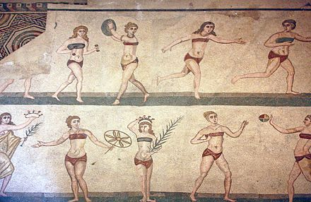 "The ""bikini girls"" mosaic, showing women playing sports, from the Villa Romana del Casale, Roman province of Sicilia (Sicily), 4th century AD Villa romana bikini girls.JPG"