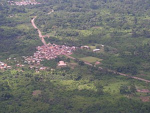 Tarkwa - Image: Village and road at Tarkwa 2005